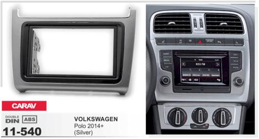 2-din inbouwframe / paneel VOLKSWAGEN Polo 2014+ (Silver)