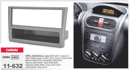 1-din inbouwframe / paneel OPEL Agila 2000-2007