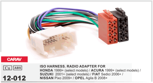 autoradio aansluitkabel / iso kabel voor HONDA 1999+  / ACURA 1999+  / SUZUKI  2001+  / FIAT Sedici 2006+ / NISSAN Pixo 2009+ / OPEL Agila B 2008+