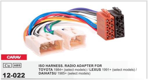 autoradio aansluitkabel / iso kabel voor TOYOTA 1984+  / LEXUS 1991+  / DAIHATSU 1985+