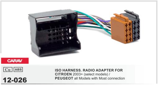 autoradio aansluitkabel / iso kabel voor CITROEN 2003+  / PEUGEOT alle modellen met Most connectie